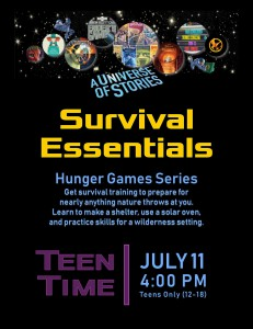 Teen Time: Survival Essentials (Hunger Games Series) @ Tooele City Library | Tooele | Utah | United States