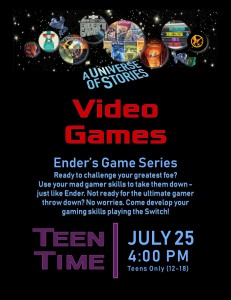 Teen Time: Video Games (Ender's Game Series) @ Tooele City Library | Tooele | Utah | United States