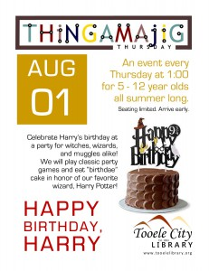 Thing-A-Ma-Jig Thursday: Happy Birthday, Harry Potter @ Tooele City Library | Tooele | Utah | United States