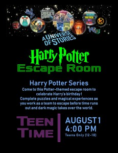 Teen Time: Harry Potter Escape Room (HP Series) @ Tooele City Library | Tooele | Utah | United States