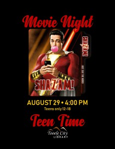 Teen Time: Shazam (Movie) @ Tooele City Library | Tooele | Utah | United States