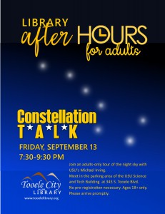Constellation Talk (After-Hours for Adults) @ USU Science and Technology Building | Tooele | Utah | United States