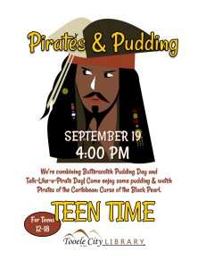 Teen Time: Pirates and Pudding @ Tooele City Library | Tooele | Utah | United States
