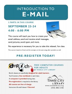 Introduction to Email (2 Parts) @ Tooele City Library | Tooele | Utah | United States