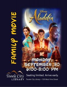 Family Movie: Aladdin (2019) @ Tooele City Library | Tooele | Utah | United States