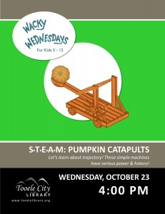 STEAM: Pumpkin Catapults (Wacky Wednesday) @ Tooele City Library | Tooele | Utah | United States