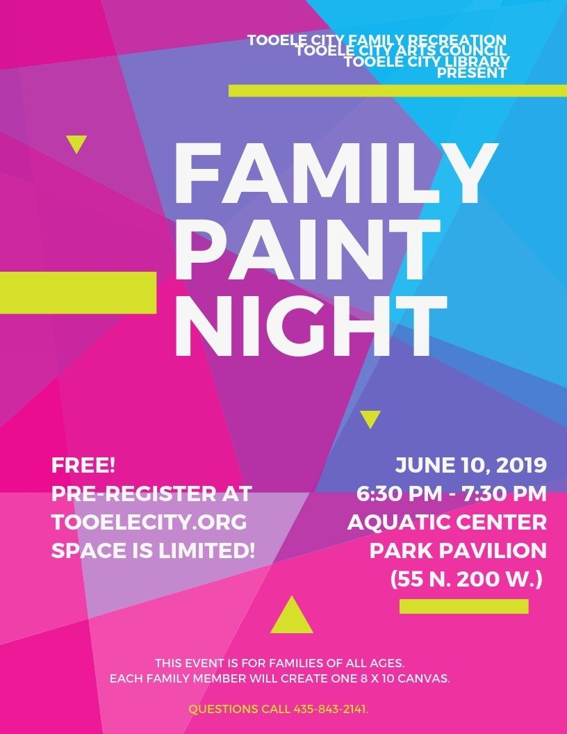 Family Craft: Paint Night @ Aquatic Center Park Pavilion | Tooele | Utah | United States