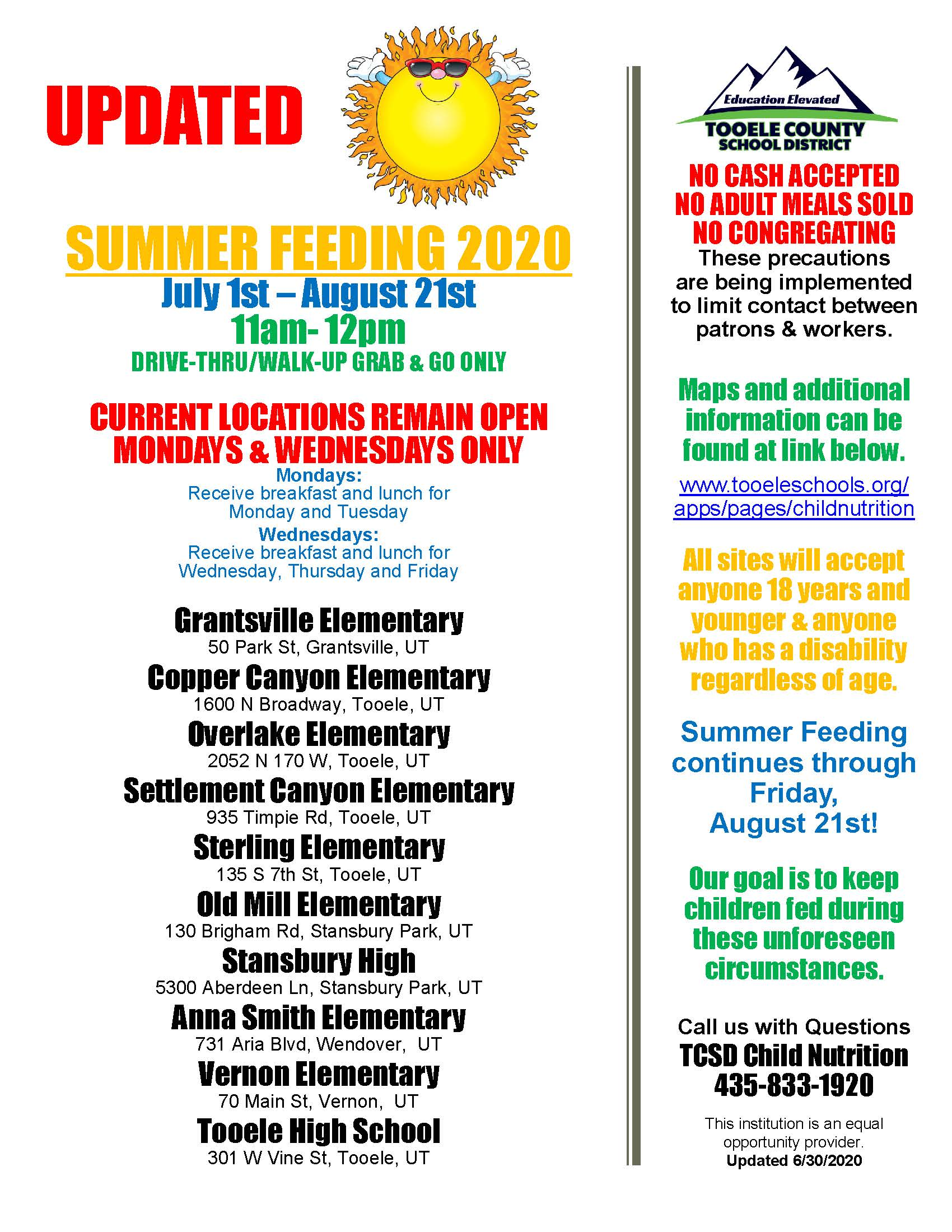 Summer Feeding Program (FREE BREAKFAST & LUNCH for KIDS) @ See locations listed on the flyer