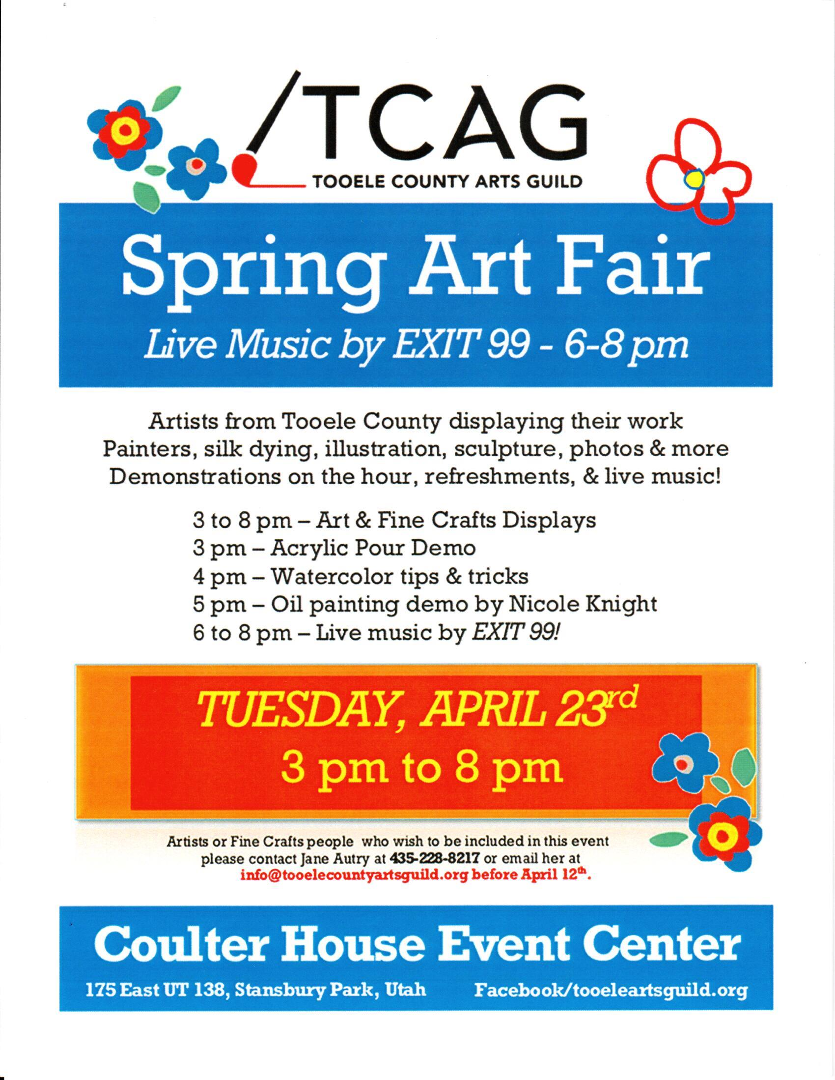 Tooele County Arts Guild:  Spring Art Fair @ Coulter House Event Center