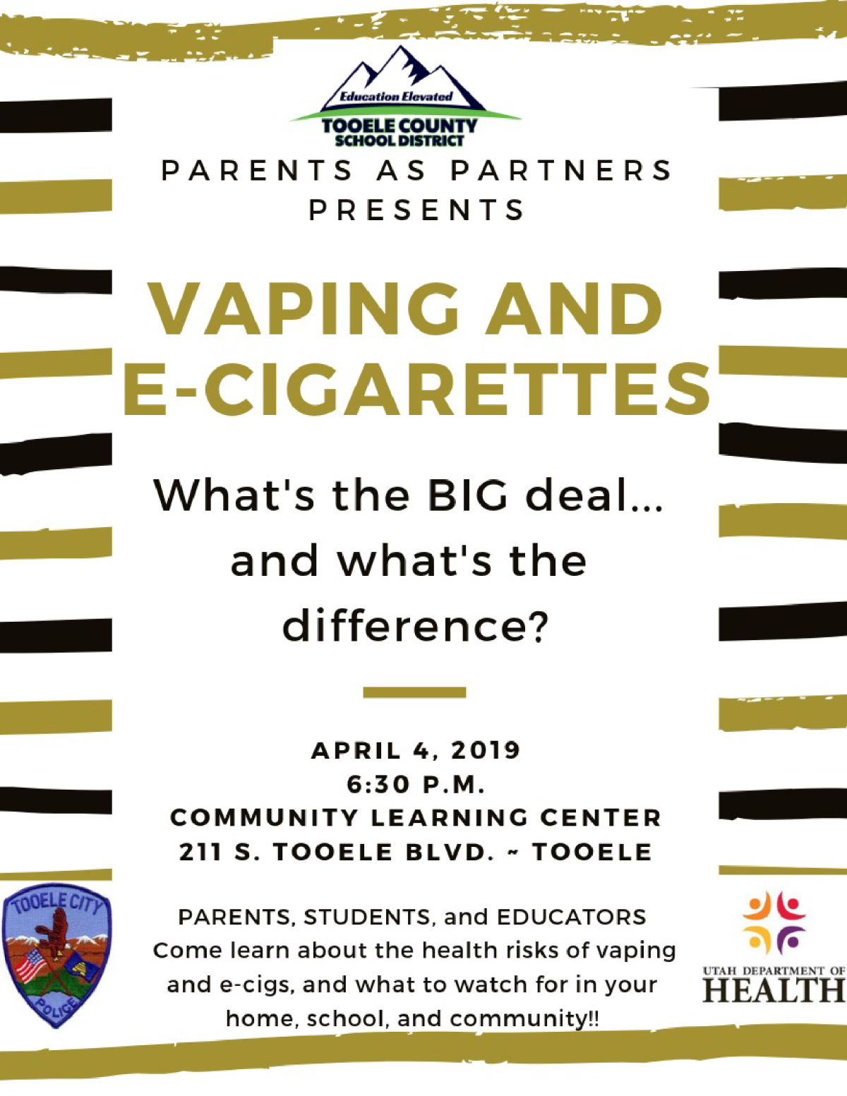 Vaping and E-Cigarettes - Parents as Partners @ Community Learning Center