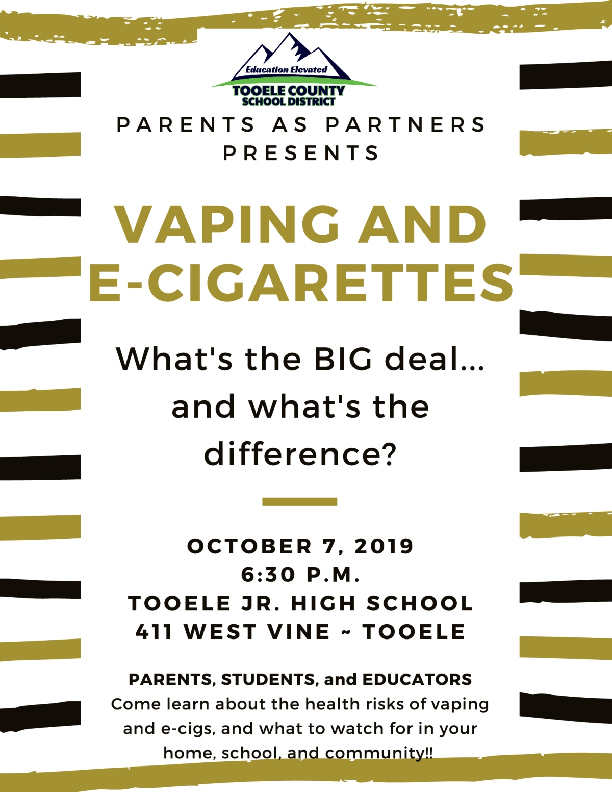 Vaping and E-Cigarettes - Parents as Partners @ Tooele Jr. High School