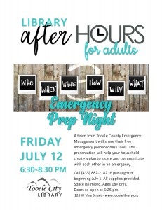 Emergency Prep Night (After-Hours for Adults) @ Tooele City Library | Tooele | Utah | United States