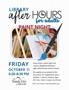 Paint and Punch Night (After-Hours for Adults) @ Tooele City Library | Tooele | Utah | United States