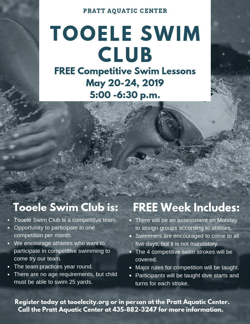 Tooele Swim Club May 2019 Free Lessons