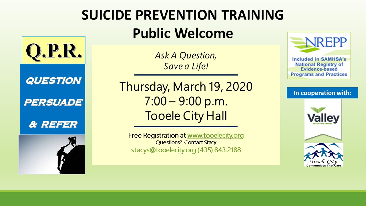 Q.P.R. Suicide Prevention Training - Cancelled @ Tooele City Hall - Large Conference Room | Tooele | Utah | United States
