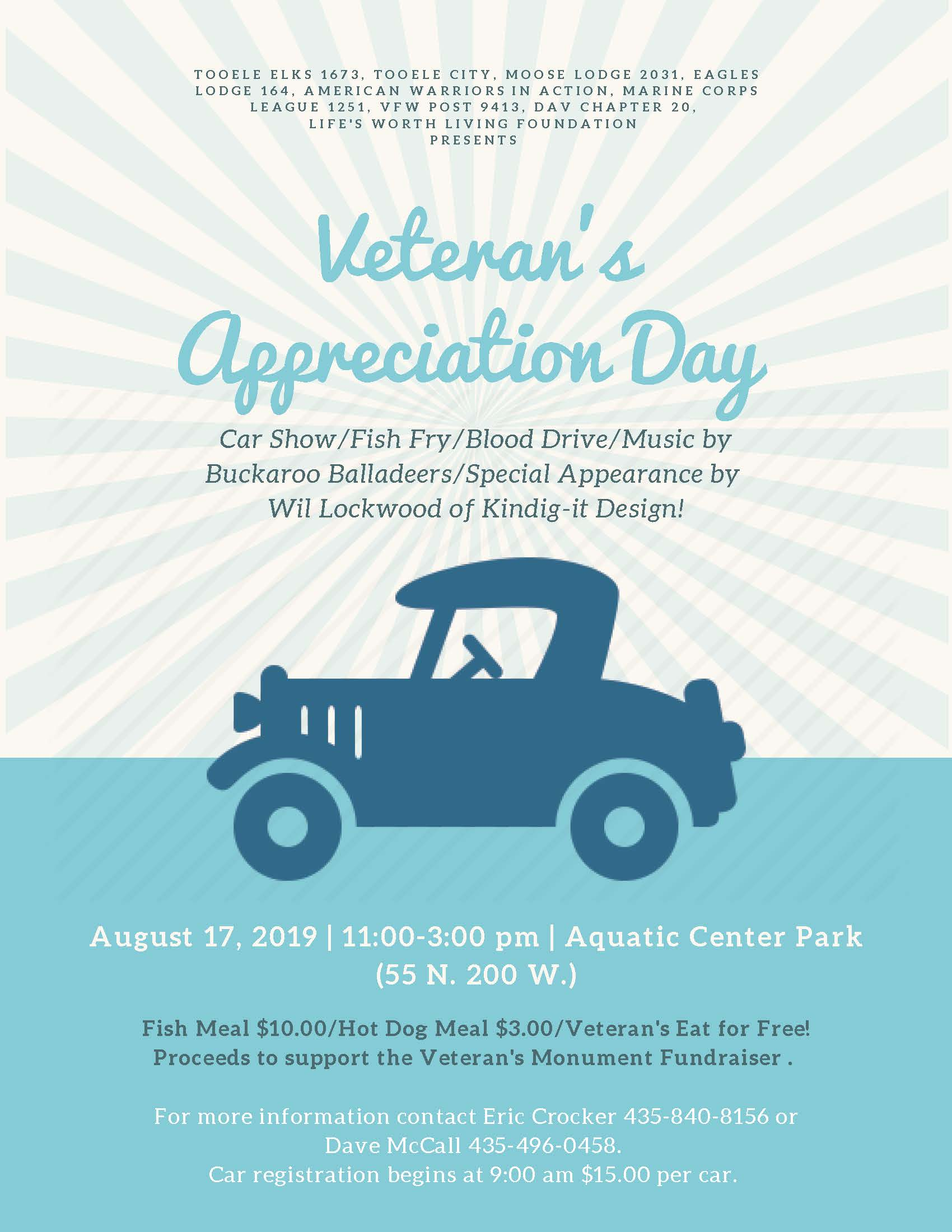 Veteran's Appreciation Day and Car Show @ Aquatic Center Park