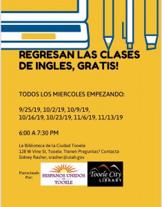 Clases de Ingles Gratis / Free English Classes @ Tooele City Library