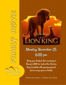 Family Movie: The Lion King (2019) @ Tooele City Library | Tooele | Utah | United States