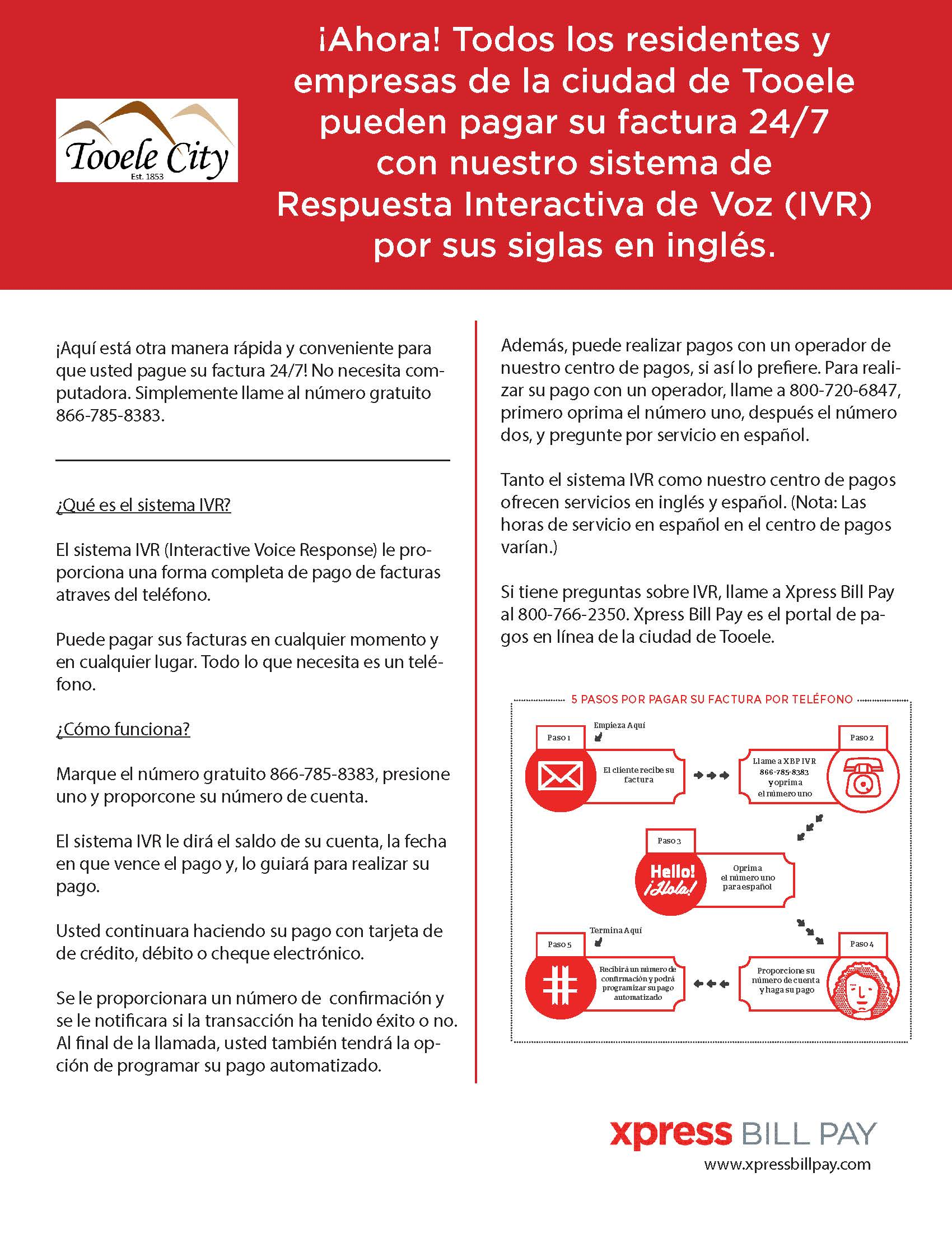 IVR Flyer Spanish Pay by Phone
