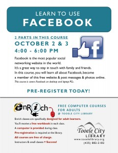 Introduction to Facebook (2 parts) @ Tooele City Library | Tooele | Utah | United States