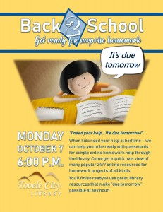 Back 2 School: Get Ready for Homework Surprises  @ Tooele City Library