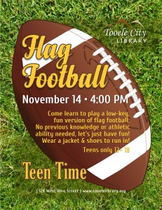 Flag Football (Teen Time) @ Tooele City Library | Tooele | Utah | United States