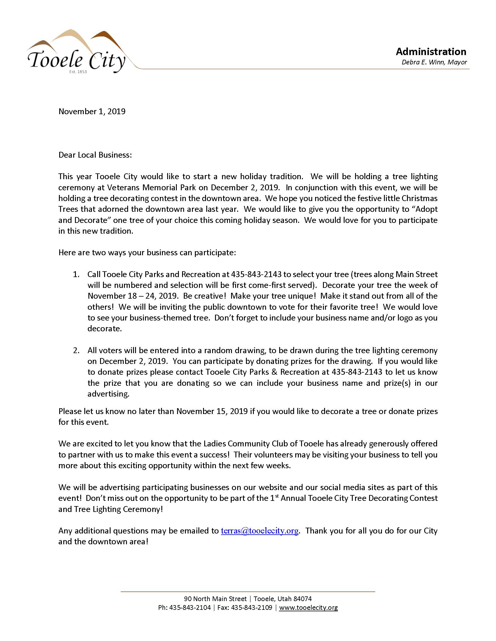 Downtown Tree Decorating Contest - Business Letter 2019
