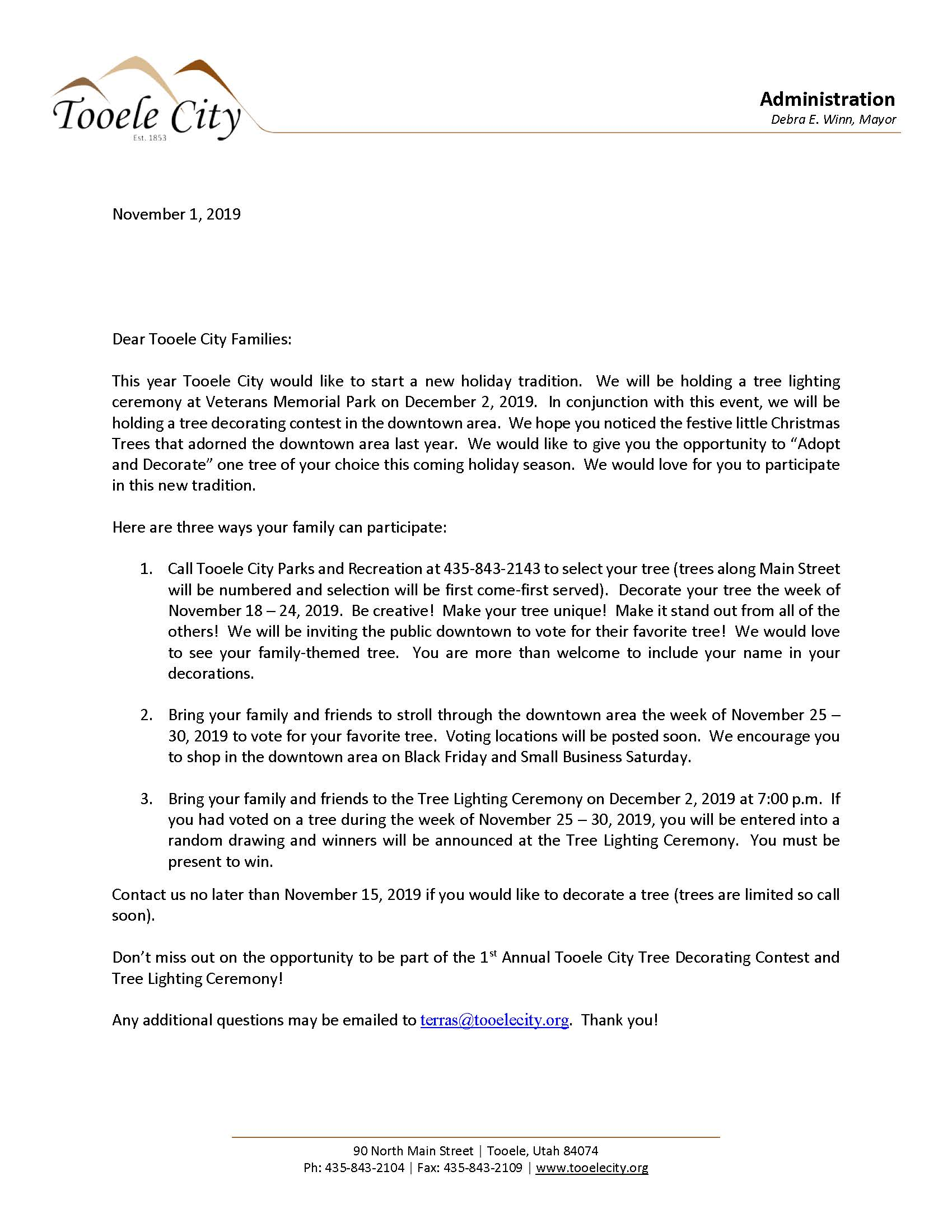 Downtown Tree Decorating Contest - Family Letter 2019