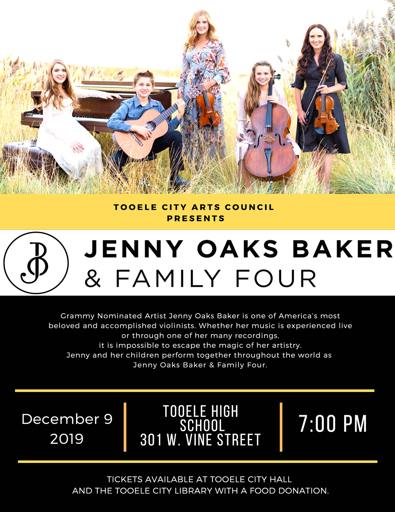 "Holiday Concert Tickets on Sale Now for ""Jenny Oaks Baker and Family Four"" @ Tooele City Hall or the Tooele City Library"