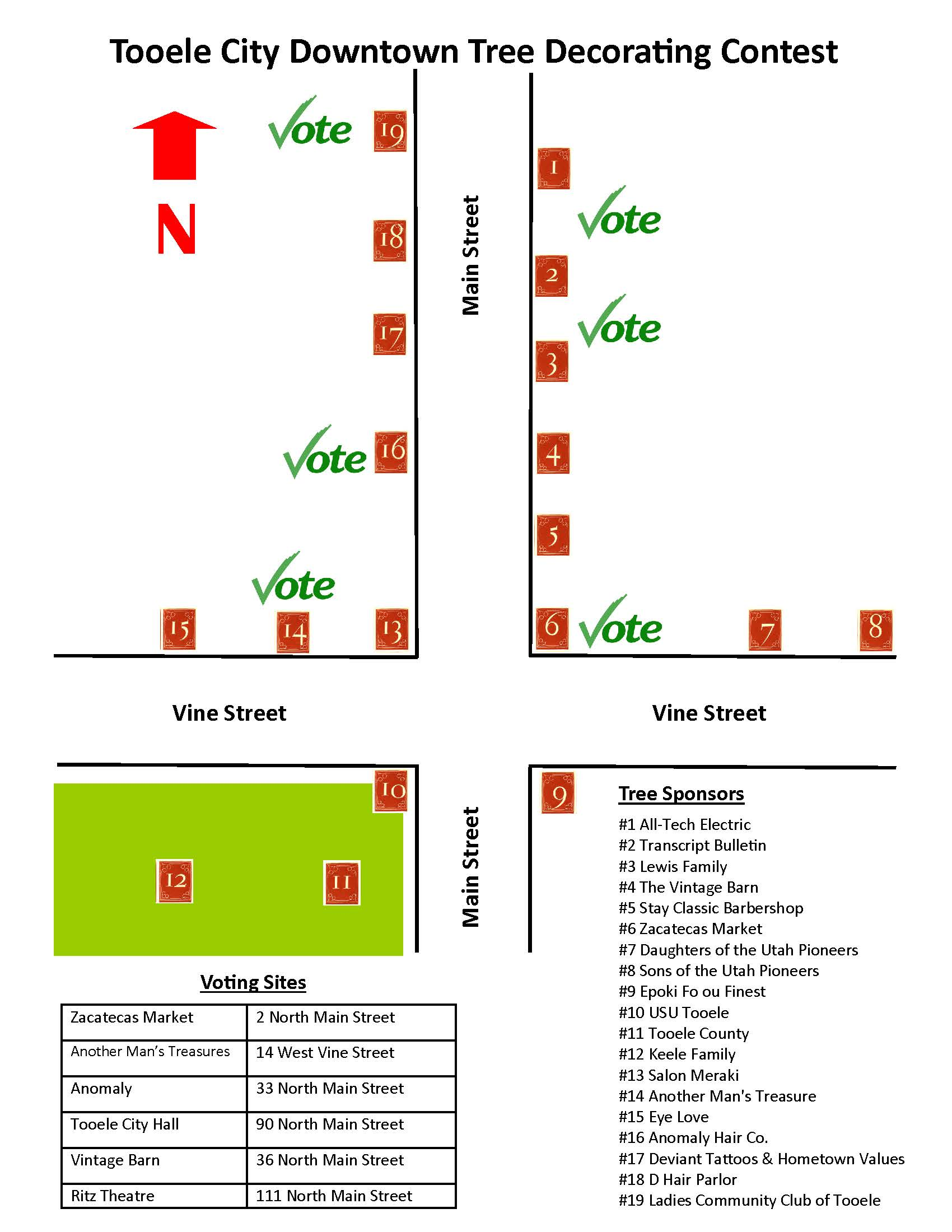 Downtown Tree Decorating Contest Map of Trees and Voting Sites 2019