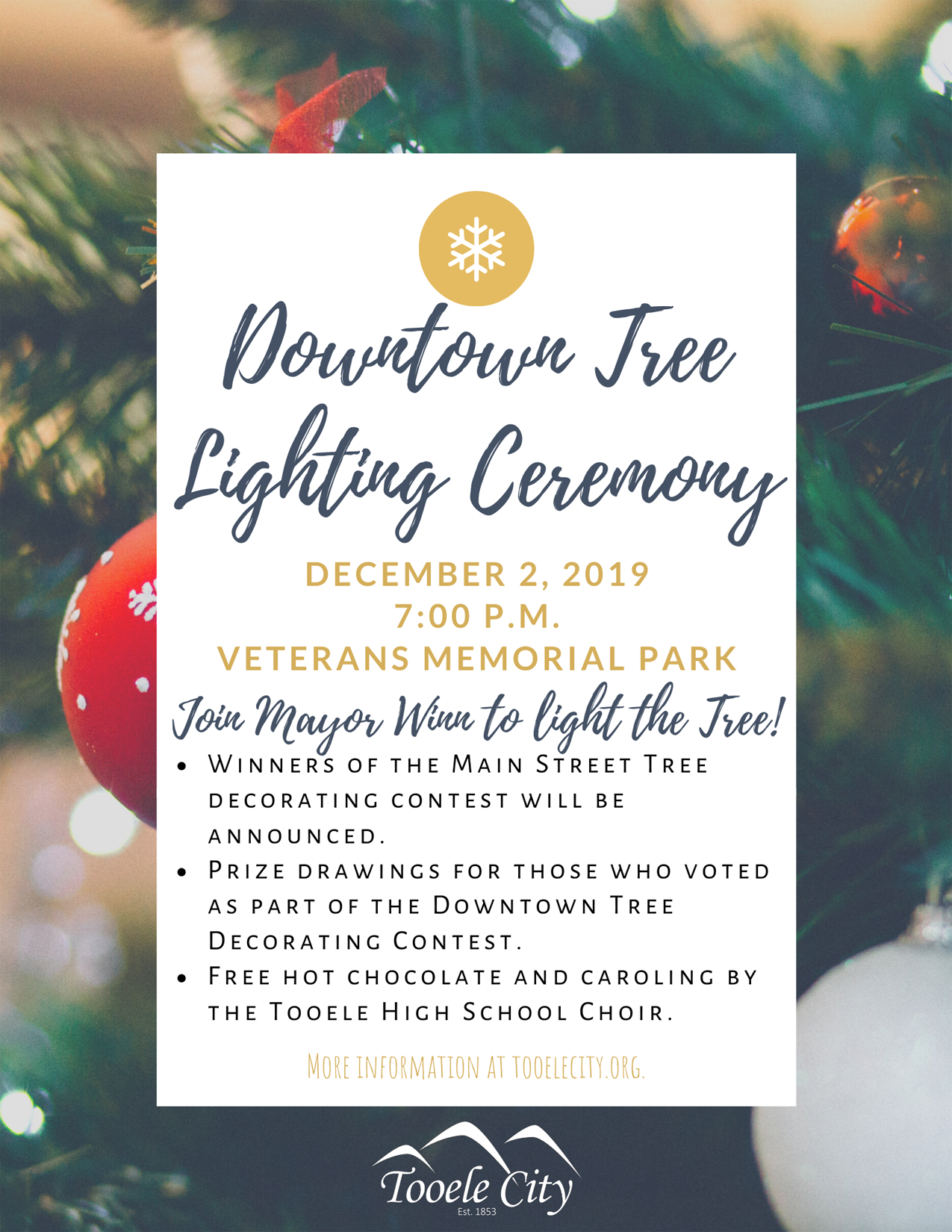 Downtown Tree Lighting Ceremony @ Veterans Memorial Park