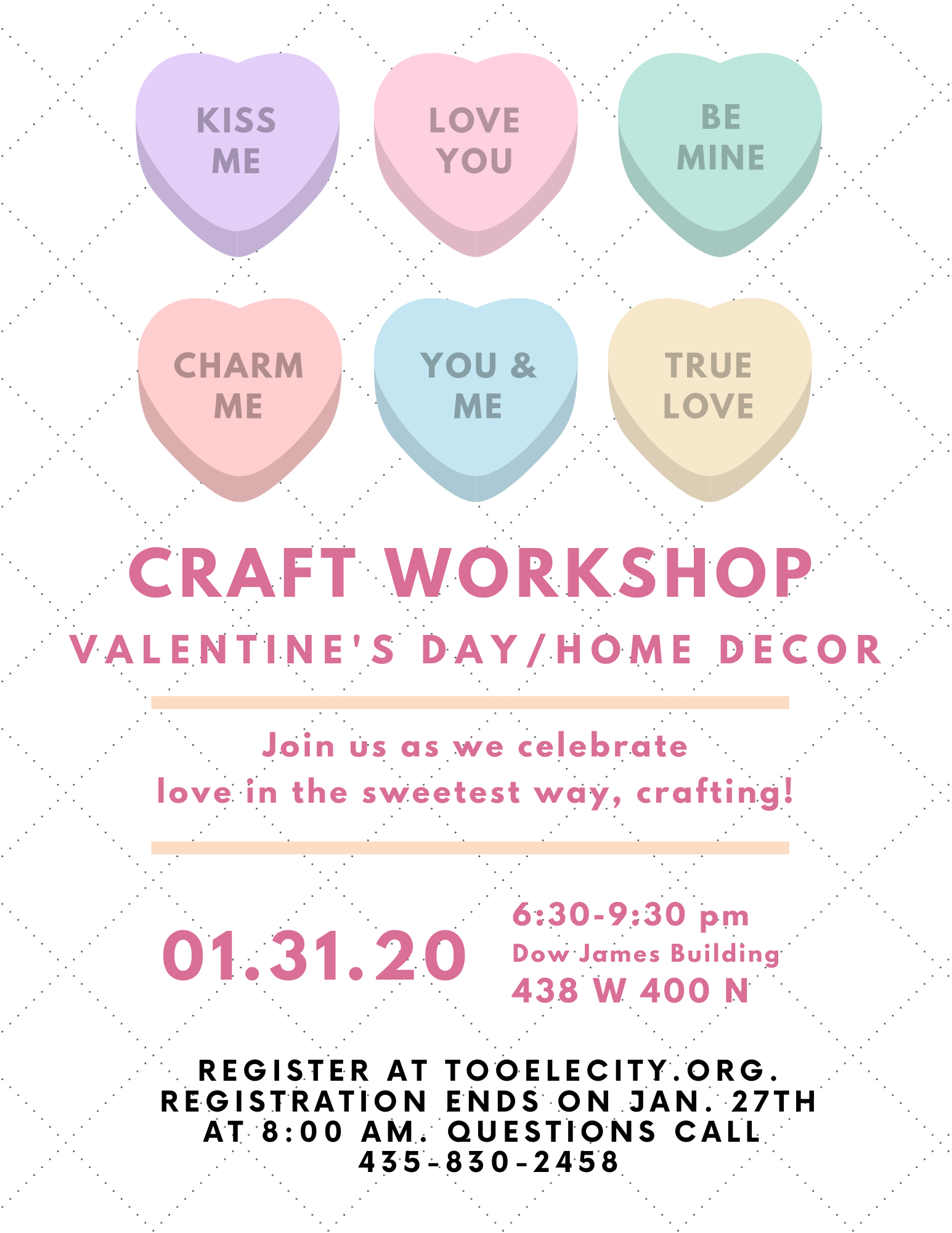 Valentine's Day/Home Decor Craft Workshop @ Dow James Building | Tooele | Utah | United States