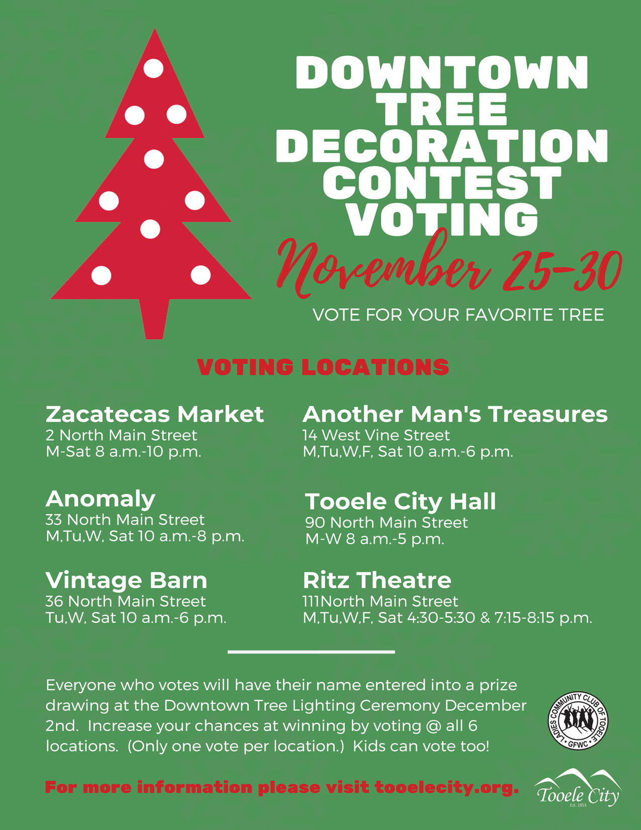 Downtown Tree Decorating Contest Voting Locations 2019