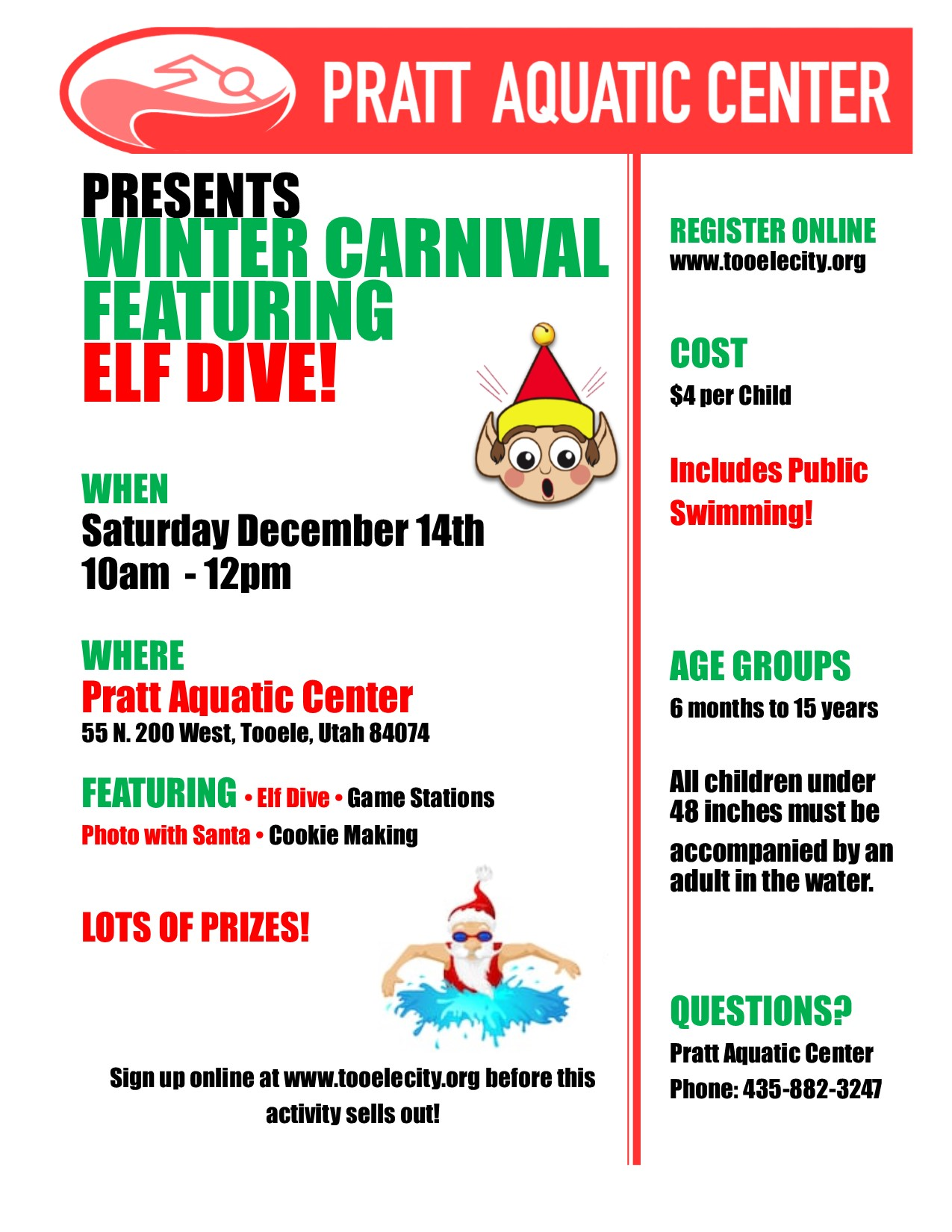 Winter Carnival & Elf Dive 2019 @ Pratt Aquatic Center