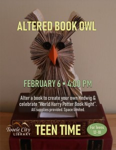 Altered Book Owl DIY (Teen Time) @ Tooele City Library | Tooele | Utah | United States