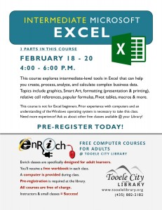 Intermediate Microsoft Excel (3 Parts) @ Tooele City Library | Tooele | Utah | United States