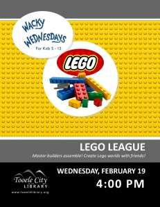 Lego League (Wacky Wednesday) @ Tooele City Library | Tooele | Utah | United States