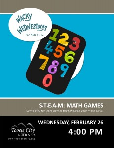 STEAM: Math Games (Wacky Wednesday) @ Tooele City Library | Tooele | Utah | United States