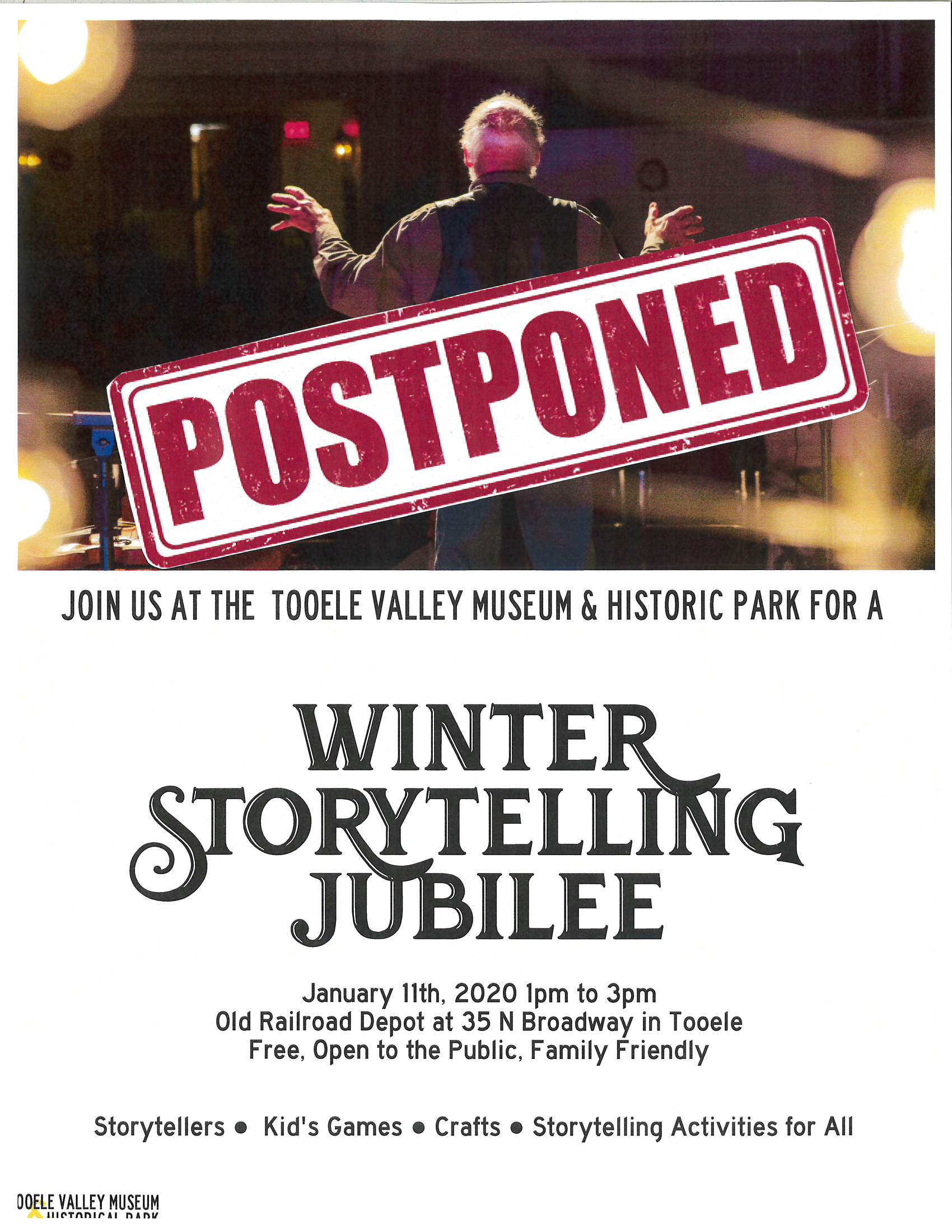 POSTPONED! Winter Storytelling Jubilee @ Tooele Valley Museum (Old Railroad Depot)