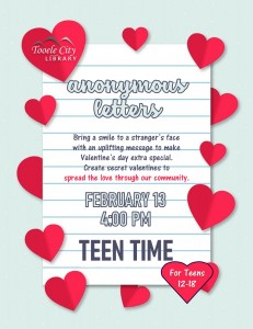 Anonymous Letters (Teen Time) @ Tooele City Library | Tooele | Utah | United States