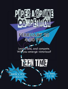 Paper Airplane Competition (Teen Time) @ Tooele City Library | Tooele | Utah | United States