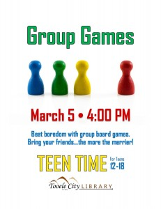 Group Games (Teen Time) @ Tooele City Library | Tooele | Utah | United States
