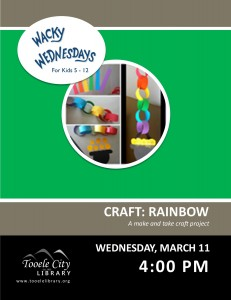 Craft: Rainbow (Wacky Wednesday) @ Tooele City Library | Tooele | Utah | United States