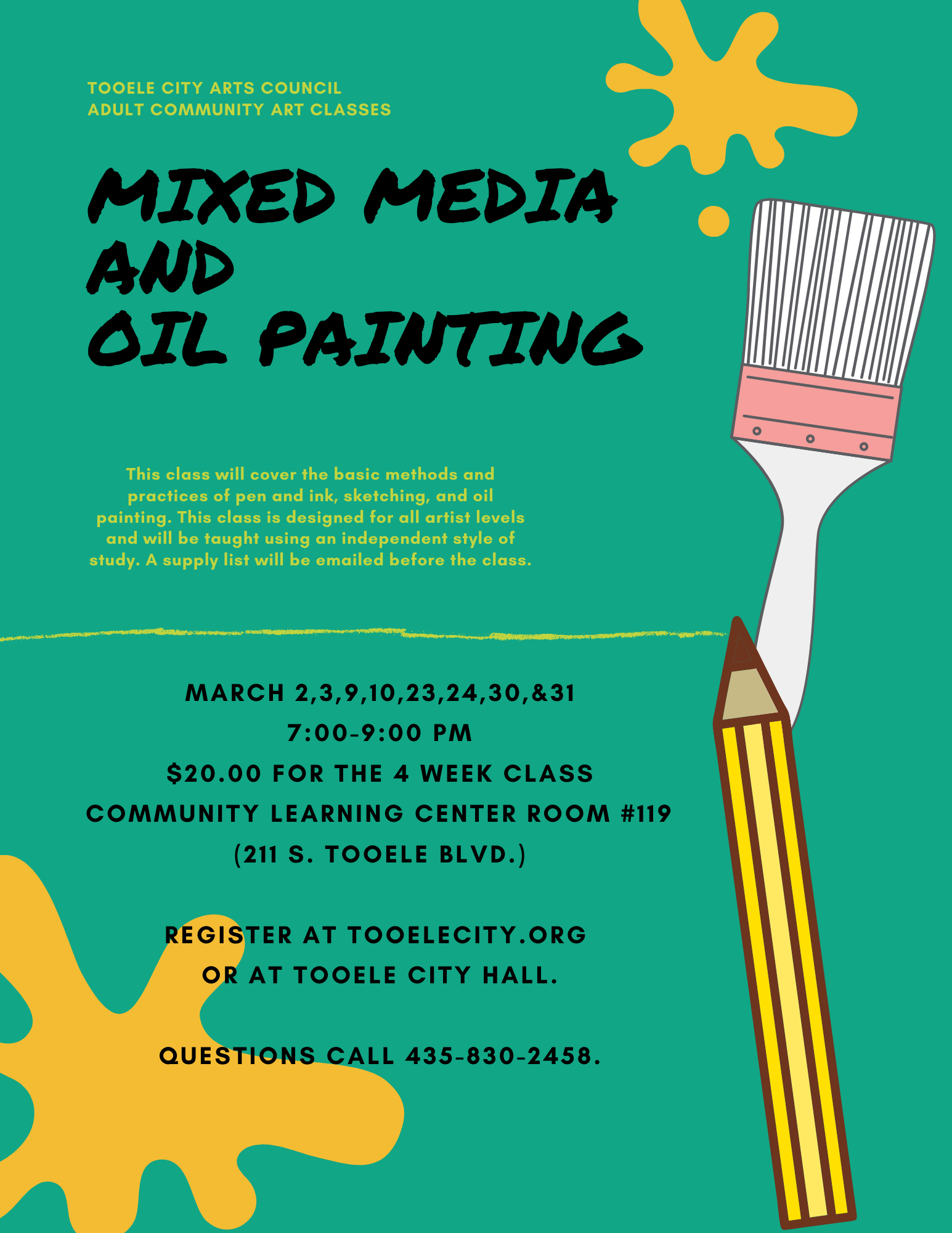 Mixed Media and Oil Painting @ Community Learning Center Room #119 | Tooele | Utah | United States