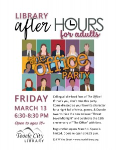 """The Office"" Anniversary Party (After-Hours for Adults) @ Tooele City Library 