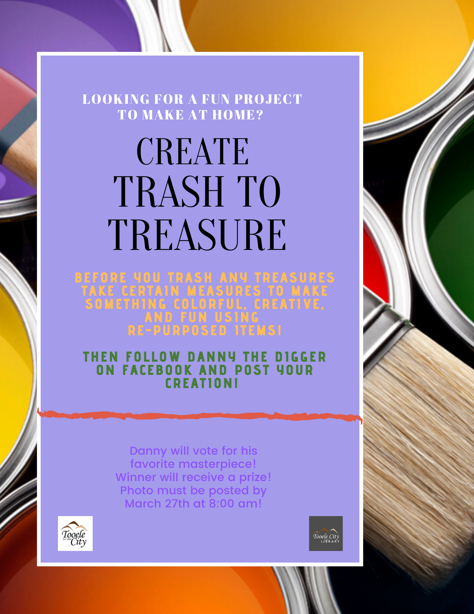 Trash to Treasure - Family Art Night (AT HOME!) @ Dow James Building | Tooele | Utah | United States