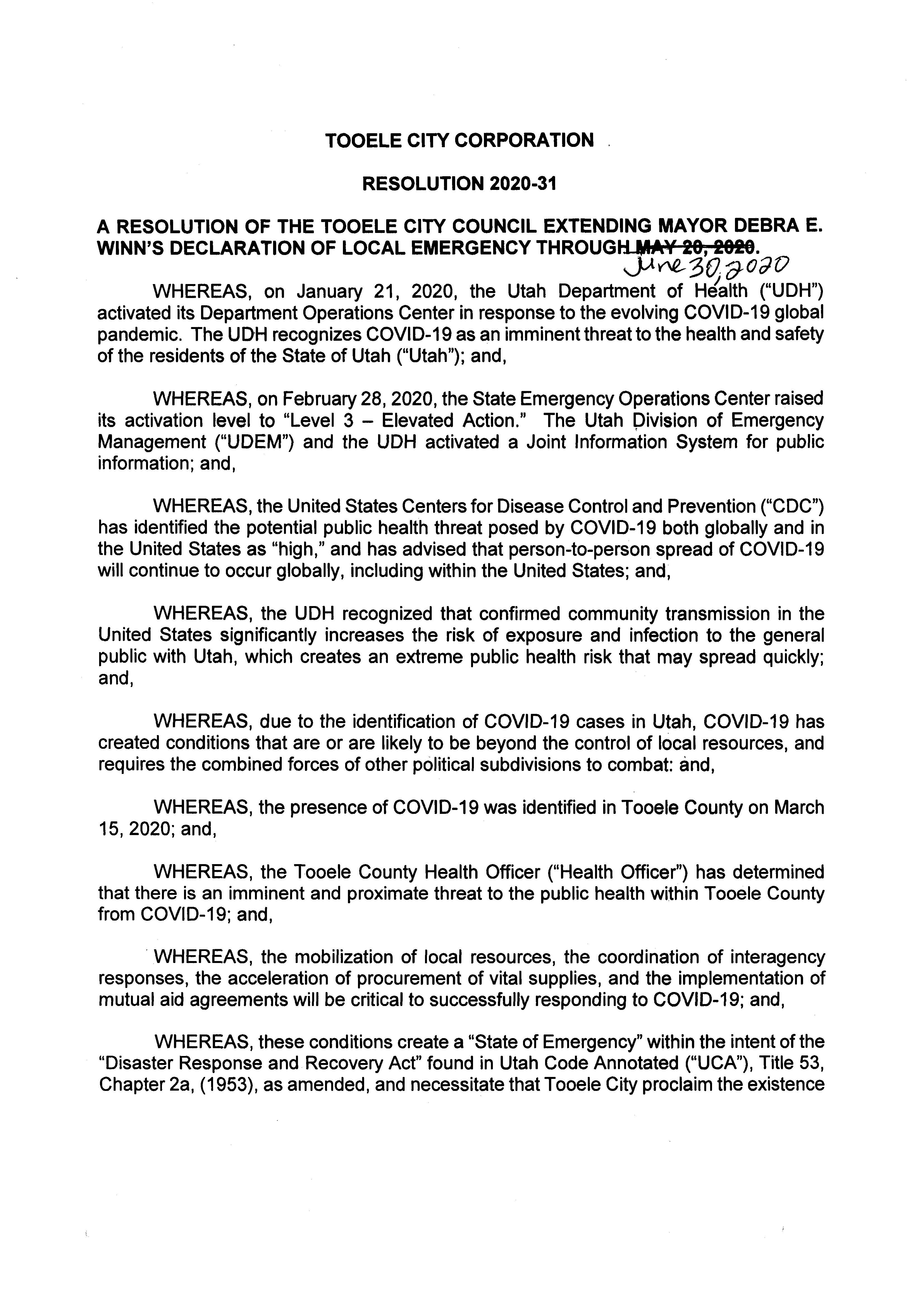 Extension of Local Emergency Declaration - April 15, 2020