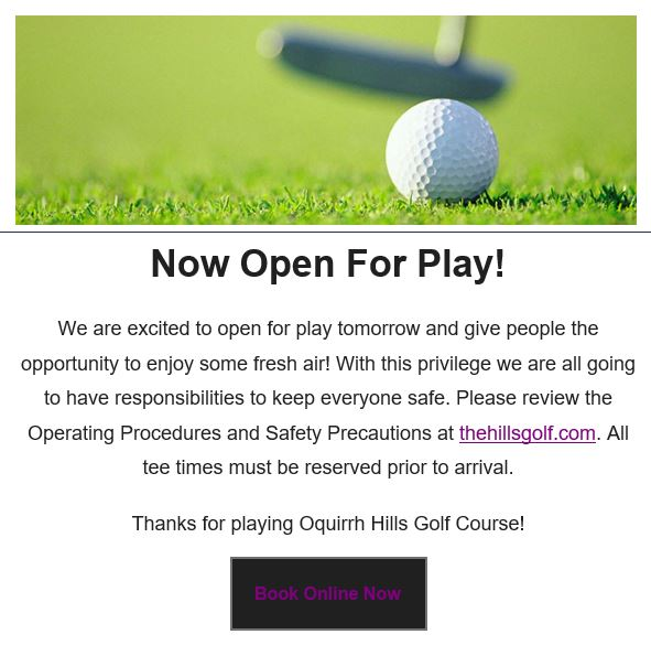 Oquirrh Hills Golf Course COVID-19 updated - Open 04-10-2020