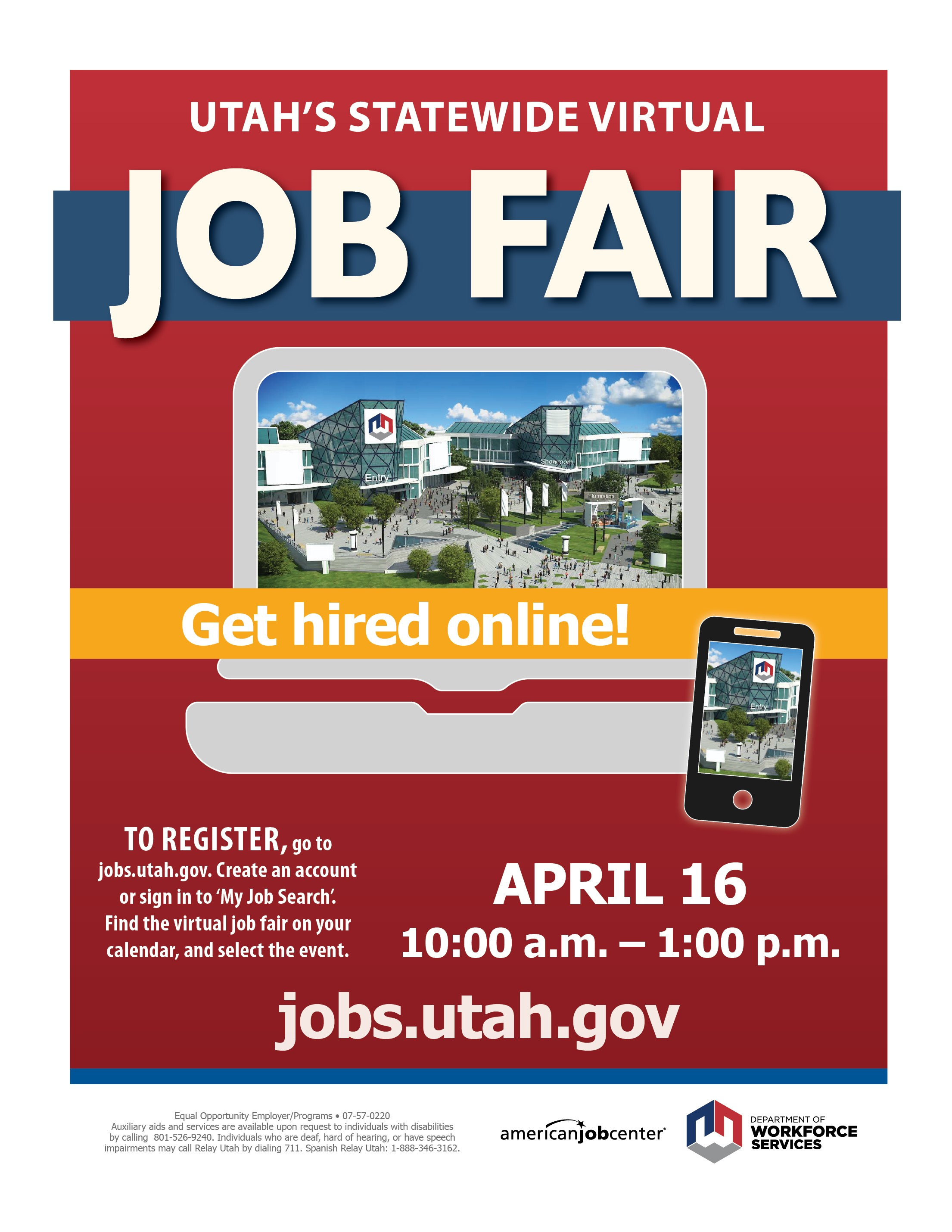 Utah's Statewide Virtual JOB FAIR @ https://jobs.utah.gov/