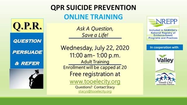 QPR Suicide Prevention Training July 2020 Online
